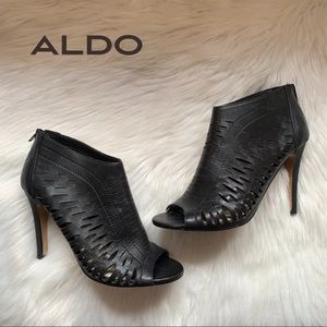ALDO Perforated Open Toe Back Zipper Booties